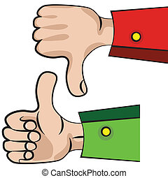 Hand gesture with thumb up. - Art vector hand gesture like...