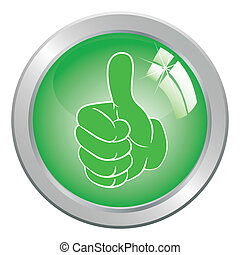 Hand gesture with thumb up. - Circle Button art vector hand...
