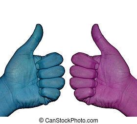 Hand gesture with white background  Ok  - pink and blue
