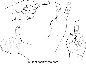 hand gestures - few hand gestures indicating the different...