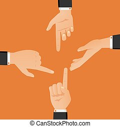 Hand gestures in black suits showing and directing, argument and discussion arms vector illustration.