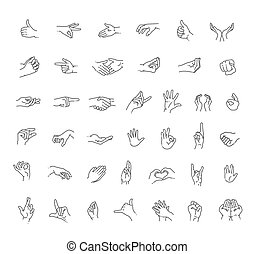 Hand gestures line icon set - Flat style vector icons, ...