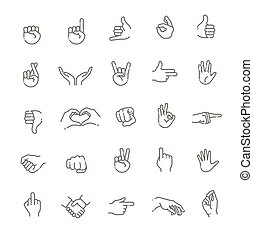 Hand gestures line icon set. Included icons as fingers ...