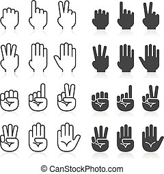 Hand gestures line icons set.