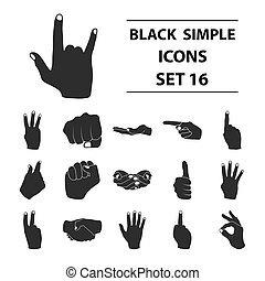 Hand gestures set icons in black style. Big collection hand gestures vector symbol stock illustration