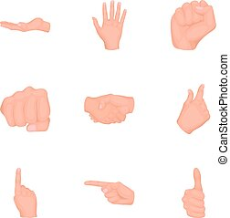 Hand gestures set icons in cartoon style. Big collection of hand gestures vector symbol stock illustration