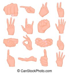 Hand gestures set icons in cartoon style. Big collection of hand gestures vector illustration symbol.