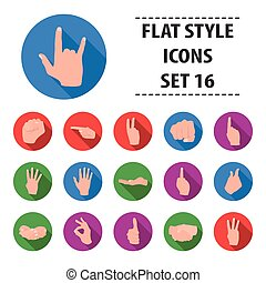 Hand gestures set icons in flat style. Big collection hand gestures vector symbol stock illustration