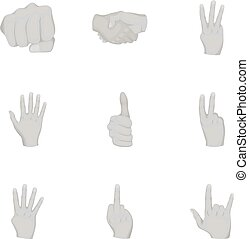 Hand gestures set icons in monochrome style. Big collection of hand gestures vector symbol stock illustration
