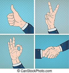 Hand Gestures Set in Comic Pop Art Style