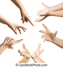 Hand gestures set, isolated in white