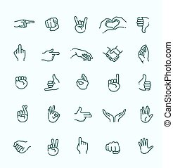 Hand gestures thin line icon set - hand gestures. line icons...