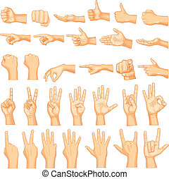 Hand Gestures - vector illustration of collection of hand...