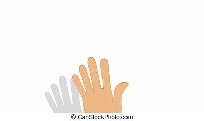 Hand gesturing on white