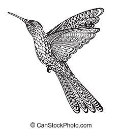 hand, getrokken, abstract, vliegen, colibri, in, sierlijk,...