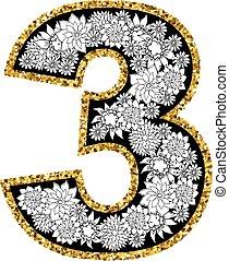 hand, getrokken, alfabet, design., cijfer, 3