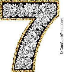 hand, getrokken, alfabet, design., cijfer, 7