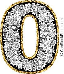 hand, getrokken, alfabet, design., cijfer, nul