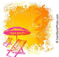hand, getrokken, badstoel, en, paraplu, op, een, tropische , grunge, achtergrond, -, vector, illustratie