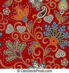 hand, getrokken, bloem, seamless, pattern., kleurrijke, seamless, model, met, pargeting, grunge, whimsical, bloemen, en, paisley., heldere kleuren, op, rood, achtergrond., vector