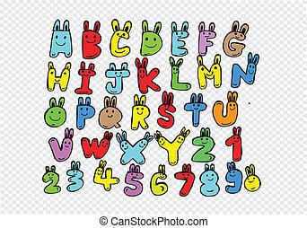 hand, getrokken, brieven, lettertype, geschreven, met, een,...