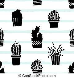 hand, getrokken, cactus, model