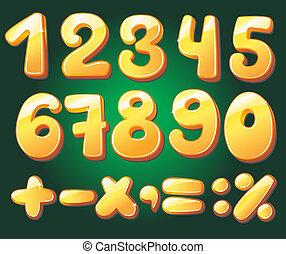 hand, getrokken, cijfers