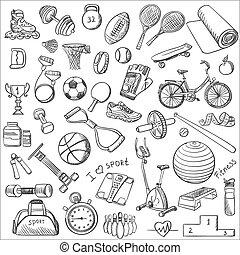 hand, getrokken, fitness, doodle, set