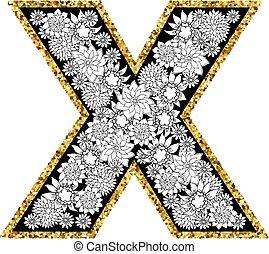 hand, getrokken, floral, alfabet, design., goud, glittering, contour., brief, x.