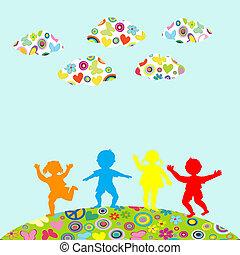 hand, getrokken, kinderen, silhouettes, spelend, buiten