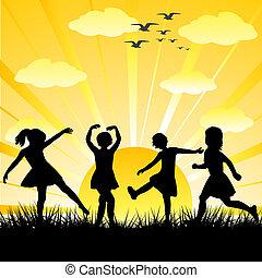 hand, getrokken, kinderen, silhouettes, spelend, in, een, glanzend, dag