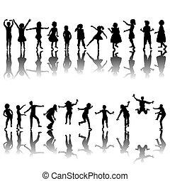 hand, getrokken, kinderen, silhouettes, spelend