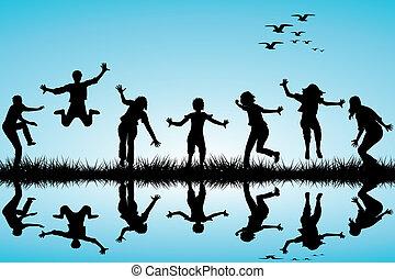 hand, getrokken, kinderen spelende, in, de, natuur