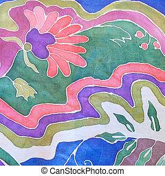 hand, getrokken, kleur, floral, ornament, op, grijs, batik