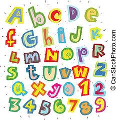 hand, getrokken, modieus, lettertype, in, funky, kleuren