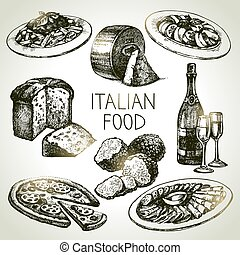 hand, getrokken, schets, italiaans voedsel, set.vector,...
