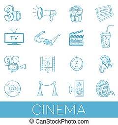 hand, getrokken, set, pictogram, bioscoop