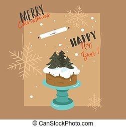hand, getrokken, vector, abstract, zalige kerst, en, gelukkig nieuwjaar, tijd, retro, spotprent, illustraties, begroetende kaart, met, caketribune, ontwerp, en, moderne, typografie, vrijstaand, op, bruine achtergrond