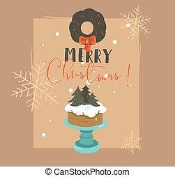 hand, getrokken, vector, abstract, zalige kerst, en, gelukkig nieuwjaar, tijd, retro, spotprent, illustraties, begroetende kaart, met, caketribune, ontwerp, krans, en, moderne, typografie, vrijstaand, op, bruine achtergrond
