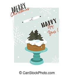 hand, getrokken, vector, abstract, zalige kerst, en, gelukkig nieuwjaar, tijd, retro, spotprent, illustraties, begroetende kaart, met, caketribune, ontwerp, en, moderne, typografie, vrijstaand, op wit, achtergrond