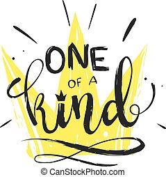 hand, getrokken, vector, clipart, -, een van een aard, -, lettering, met, een, kroon, symbool