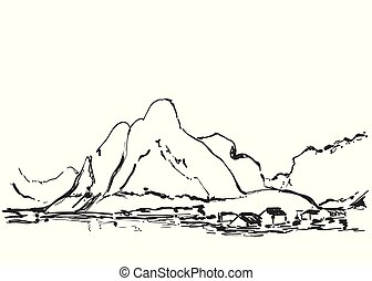 hand, getrokken, vector, illustratie, van, berg landschap