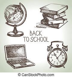 hand, getrokken, vector, school, voorwerp, set., rug te...