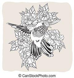 hand, getrokken, vliegen, het zoemen, vogel, met, peony,...