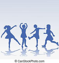 hand, getrokken, vrolijke , kinderen, silhouettes, spelend
