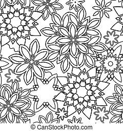 hand, getrokken, zentangle, floral, doodles, van een stam, stijl, voor, volwassene, kleuren, book., vector, illustratie, eps, tien, voor, jouw, ontwerp