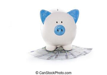 hand, geverfde, blauw en wit, piggy bank , op, stapel, van, eurobiljetten