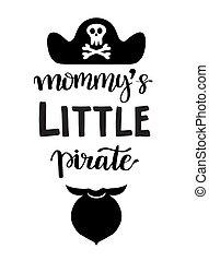 hand, gezeichnet, beschriftung, notieren, wenig, pirate.