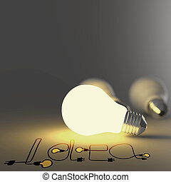 hand, gezeichnet, grafik, wort, idee, und, 3d, glühlampe, als, begriff