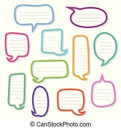 hand, gezeichnet, grobdarstellung, vortrag halten , bubbles., dialogs, boxes.